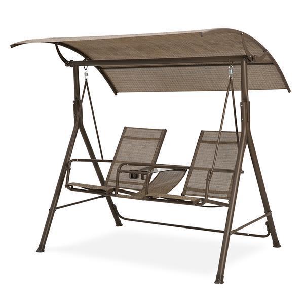 2 Personen Patio Swing Stahlrahmen Textlene Abdeckung Verstellbar, Schaukelbank, Geeignet für Patio, Garten, Pool, Balkon (Braun)
