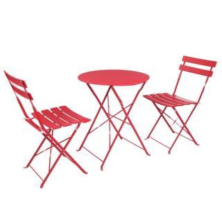 Dreiteiliges Set aus Eisenfalten 2 Stühle 1 Tisch Rot