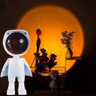 Projektionssonnenuntergangslampe 360 Grad verstellbare Roboterfigur Lampe