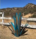 Rustikale Skulptur des blauen Tequila, DIY Metall-Agaven-Pflanze, Gartenhof-Kunstdekoration