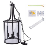 110-240V Wide Voltage LED Black American Wrought Iron Chandelier E12 Interface Living Room Kitchen Dining Light (Without Bulb) Chain length 1M Applicable Bulb Type: Incandescent Lamp Or LED Lamp Appli