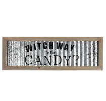 WITCH WAY TO TEH CANDY Halloween Hanging Sign Holiday Wall Sign