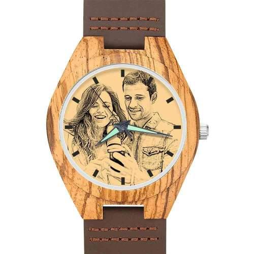 Men's Engraved Wooden Photo Watch