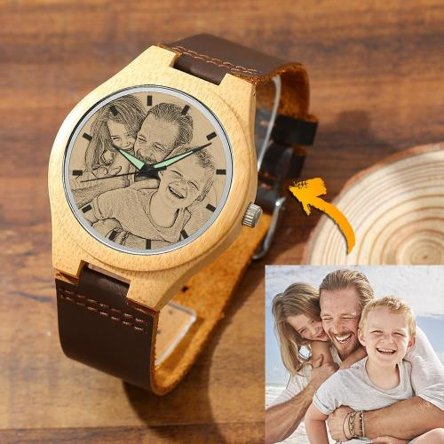 Men's Engraved Bamboo Photo Watch