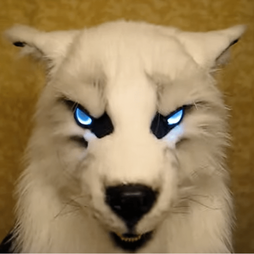 WEREWOLF MASK GLOWING EYES MOVABLE EARS AND JAWS