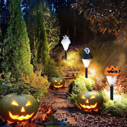 3PC Halloween Pumpkin Ghost Garden Lights, Waterproof Solar Lights Outdoor for Garden Pathway Walkway Yard Landscape Patio