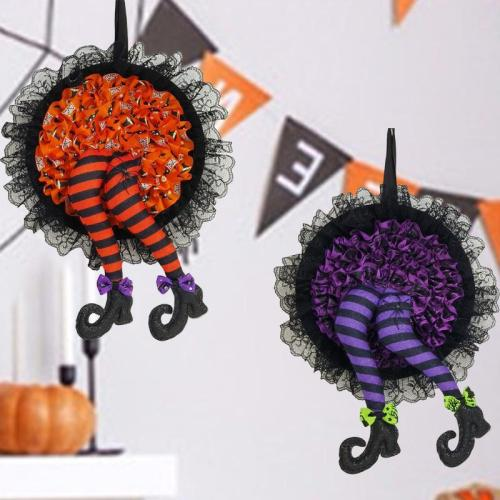 Handcrafted Witch Legs Wreath For Halloween Decoration