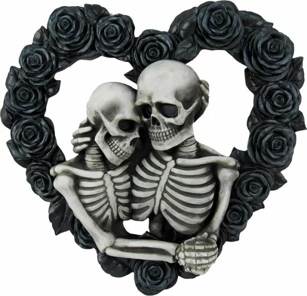 Black Rose Heart Skeleton Lovers Gothic
