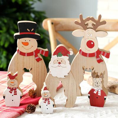 Christmas Wooden Ornaments Santa Claus Snowman Reindeer