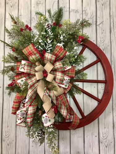 Winter Wreath-Farmhouse Wagon Wheel