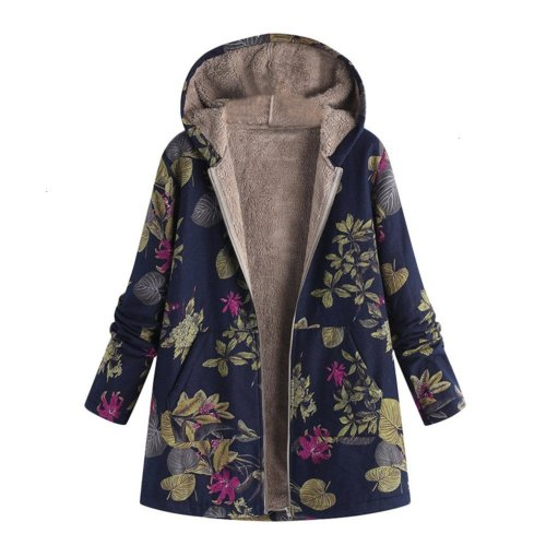 Women's Retro Loose Hooded Coat Floral Print Fleece