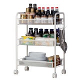 Exquisite Honeycomb Net Three Tiers Storage Cart with Hook Ivory White