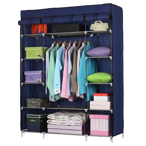 5-Layer 12-Compartment Non-woven Fabric Wardrobe Portable Closet Navy (133x46x170cm)