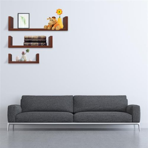 Set of 3 Floating Display Shelves Ledge Bookshelf Wall Mount Storage Home Decor Brown