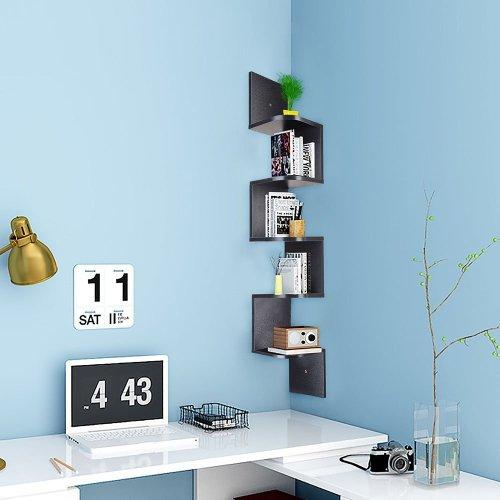 Wood Industrial Corner 5 tiers Wall Shelf Zig Zag Wooden Shelves Wooden Mount Rack Home Furniture Black