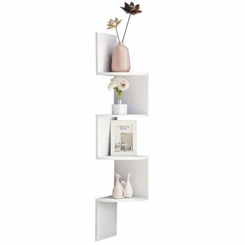 Wood Corner 5 tiers Wall Shelf Zig Zag Wooden Shelves Wooden Mount Rack Home Furniture White