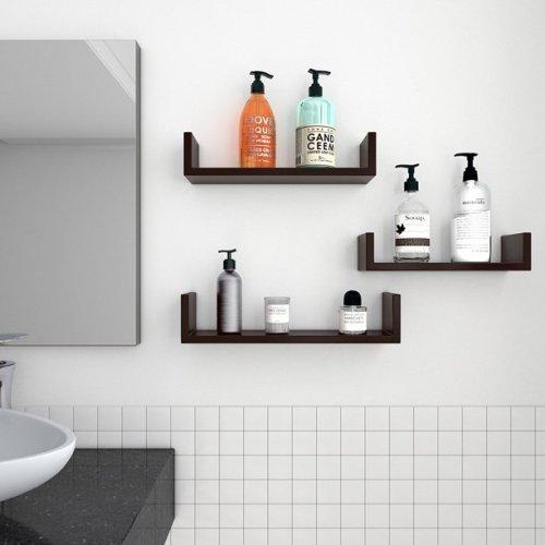 Set of 3 Floating Display Shelves Ledge Bookshelf Wall Mount Storage Home Decor Black