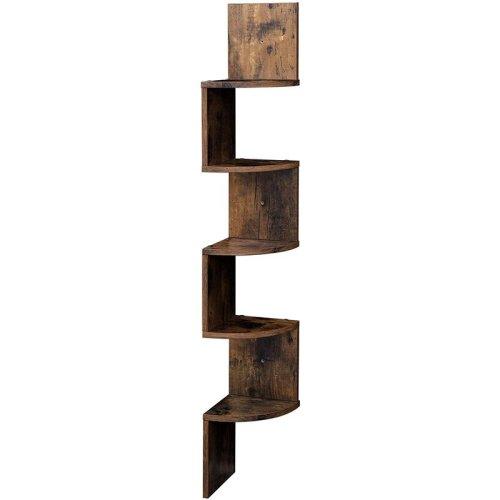 Wood Industrial Corner 5 tiers Wall Shelf Zig Zag Wooden Shelves Wooden Mount Rack Home Furniture
