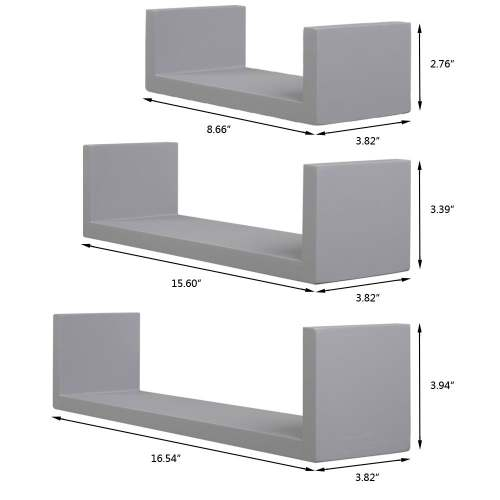 Set of 3 Floating Display Shelves Ledge Bookshelf Wall Mount Storage Home Decor Gray