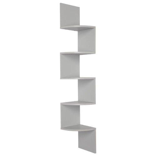 Wood Corner 5 tiers Wall Shelf Zig Zag Wooden Shelves Wooden Mount Rack Home Furniture Gray