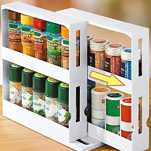 Spice Rack, Multi-Functional Rotating Storage Rack Seasoning Storage Box