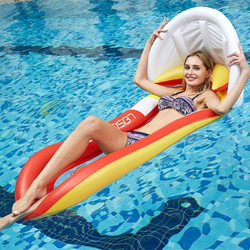 Pool Lounger with Head Pillow Lake Raft Large Luxury Inflatable Swimming Pool Floating Ball