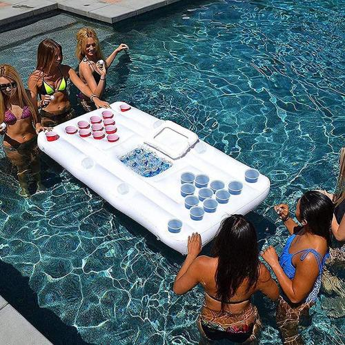 Inflatable Beer Pong Table Beer Pong Pool Float with Cooler Pool