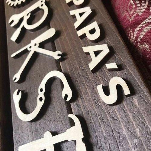 Garage Sign Wooden Shop Sign Wood Workshop Sign