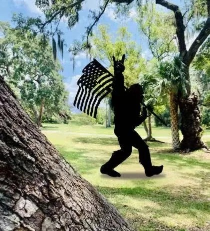 All-Weather PVC Bigfoot Display Over Gorilla decorating the garden