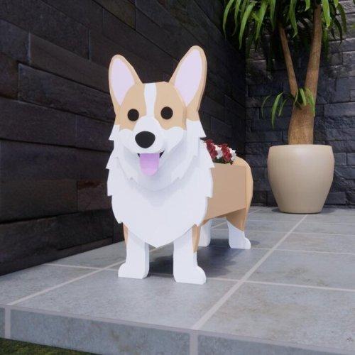 Cute Dog Planter Pug Planting Machine Wood Handmade Planter