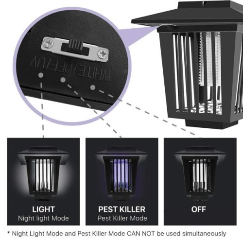 Solar Mosquito Killer LED Electronic Mosquito Killer Mosquito Repellent Light Waterproof Lawn Light For Residential