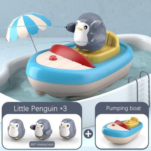 Kid's Bath Toy Electric Water Spray Swimming Floating Tub Toy Penguin for Toddler