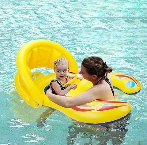 Portable Mother Children Swim Circle Inflatable Safety Swimming Ring Float Seat