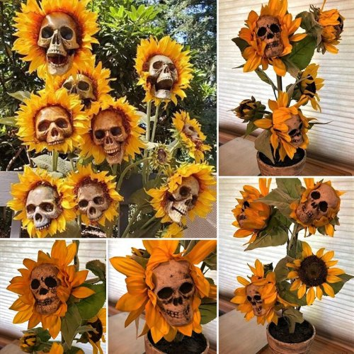Skull Head Simulation Sunflower Garden Decoration