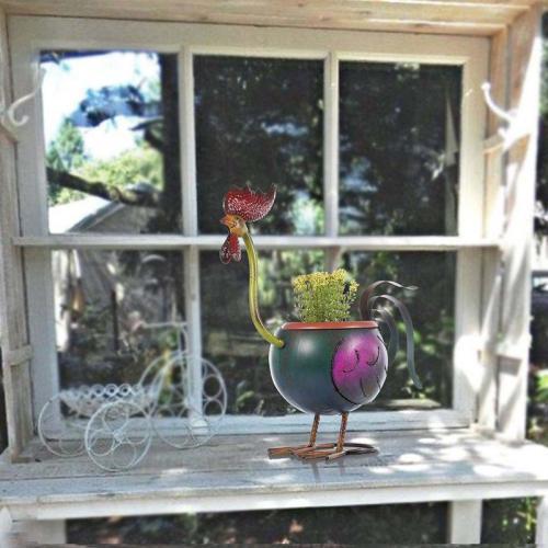 Creative Metal Rooster Flower Pot