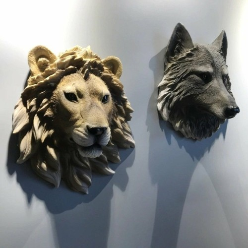 Animal Head Sculpture Wall Decor Resin 3D Art Animal Statue Modern Room Art Deco