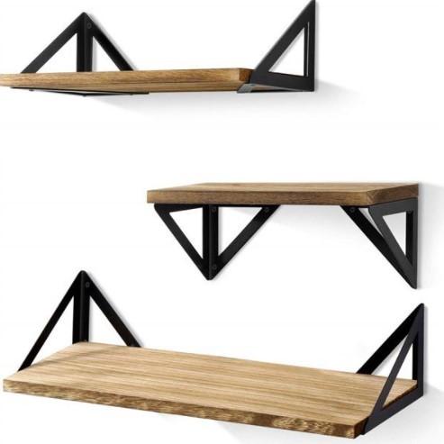 Floating Shelves Wall Mounted, Rustic Wood Wall Shelves Set of 3 for Bedroom, Bathroom, Living Room, Kitchen