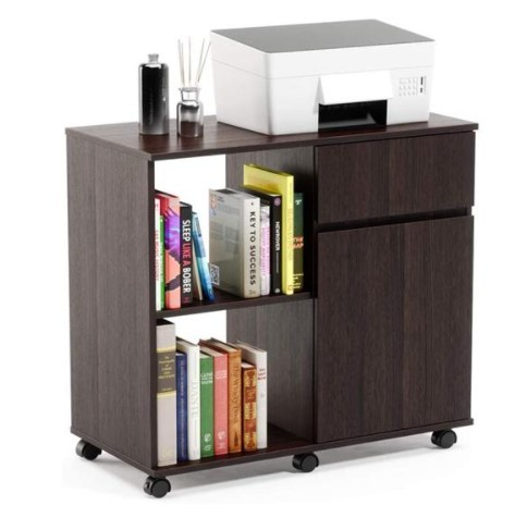 Mobile Printer Stand with Storage Office Cabinet, Wooden Under Desk Cabinet Storage Drawers Home Office Furniture Storage Cabinet