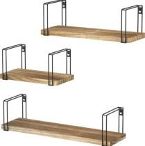 Rustic Floating Shelves, Wood Wall Shelves Set of 3, Wall Mounted Hanging Shelves for Bedroom, Living Room, Kitchen, Bathroom