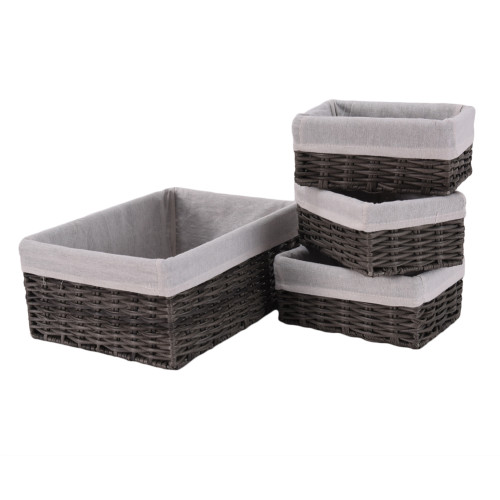 Handmade Wicker Storage Baskets Set Woven Decorative Organizing Nesting Baskets for Bedroom Bathroom(Set of 4,Grey)