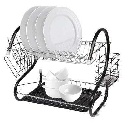 Multifunctional S-shaped Dual Layers Bowls & Dishes & Chopsticks & Spoons Collection Shelf Dish Drai Black