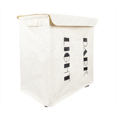 Iron Wire Frame Folding Storage Laundry Basket with Cover & Wheel White