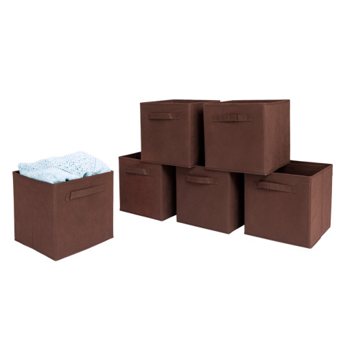 6pcs High Quality Non-woven Fabrics Storage Boxes Brown