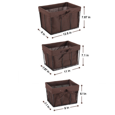 Wire Basket Set with Removable Fabric Liner, Rustic Farmhouse Open Home Storage Bins & Decorative Baskets for Shelves in Laundry Room, Bathroom, Kitchen Organizing