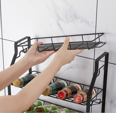 Black Three Tier Kitchen Seasoning Storage Rack Counter Organizer Spice Rack Shelf for Seasoning Jars,Spice Jars Sauce Bottles