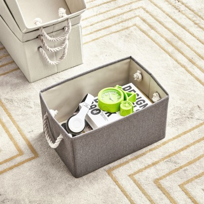 4 Pack Storage Cubes Foldable Decorative Baskets Fabric Storage Bins Storage Box with Cotton Rope Handles Cube Organizer Bins Storage Containers for Living Room (Grey)