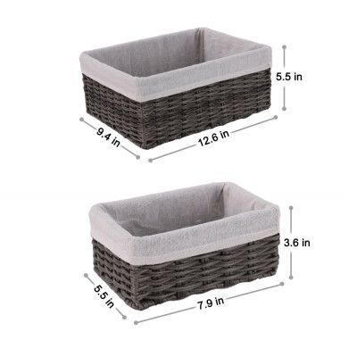 Handmade Wicker Storage Baskets Set Woven Decorative Organizing Nesting Baskets for Bedroom Bathroom(Set of 4,Grey)