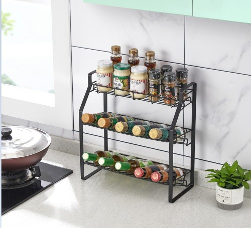 Black Three Tier Kitchen Seasoning Storage Rack Counter Organizer Spice Rack Shelf for Seasoning Jars,Spice Jars Sauce Bottles