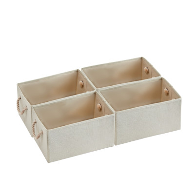 4 Pack Storage Baskets Fabric Cube Storage Bins Foldable Decorative Baskets Storage Cubes with Cotton Rope Handles Cube Organizer Bins Storage Containers for Living Room