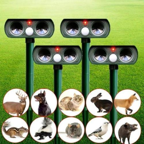 Solar Power Ultrasonic Animal Pest Repeller Infrared Sensor Waterproof Animal Deterrent